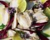 Il bianco di coniglio al lime cotto a vapore su carpaccio di mela verde e olio extravergine di oliva raggia